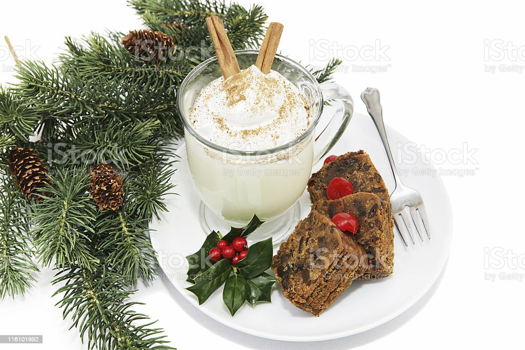 Eggnog & Fruitcake royalty-free stock photo