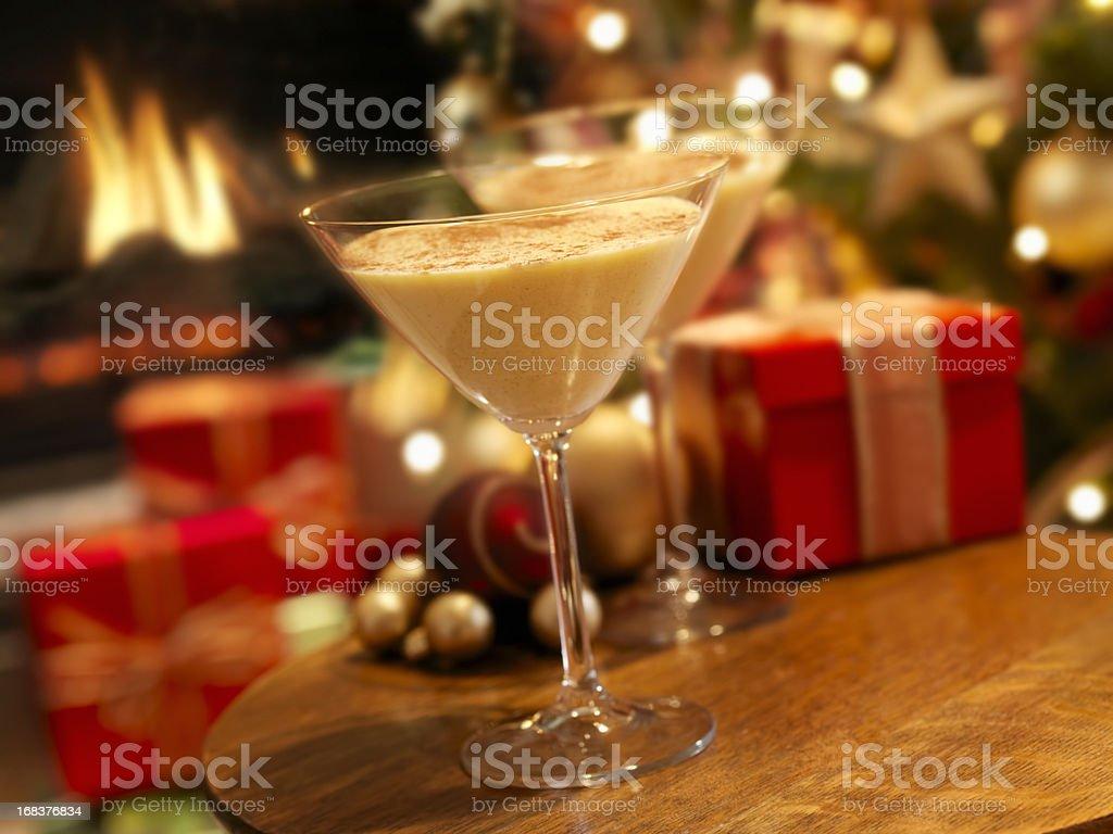 Eggnog Martini at Christmas Time royalty-free stock photo