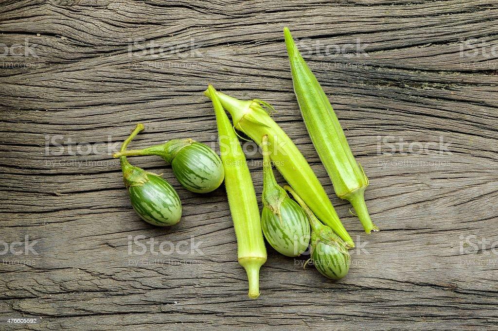 eggplant and Okra stock photo