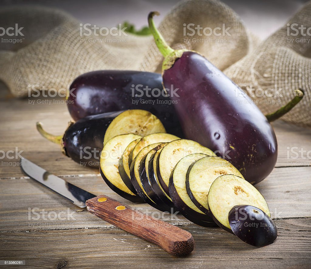 Eggplant and olive oil stock photo