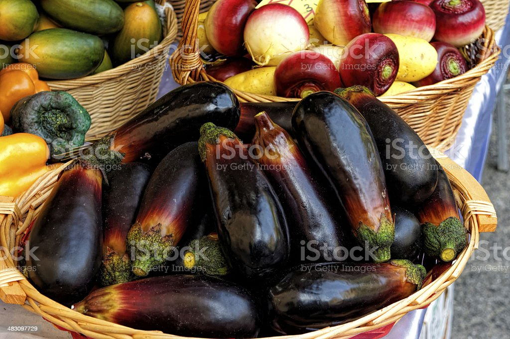eggplant in a market royalty-free stock photo