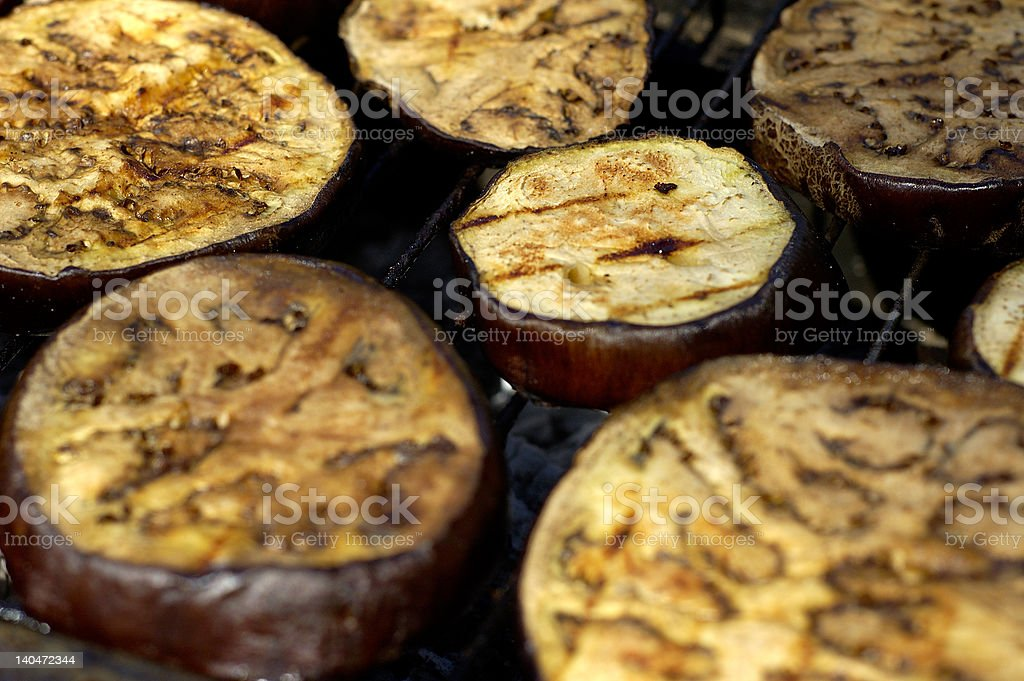 Eggplant on grill royalty-free stock photo