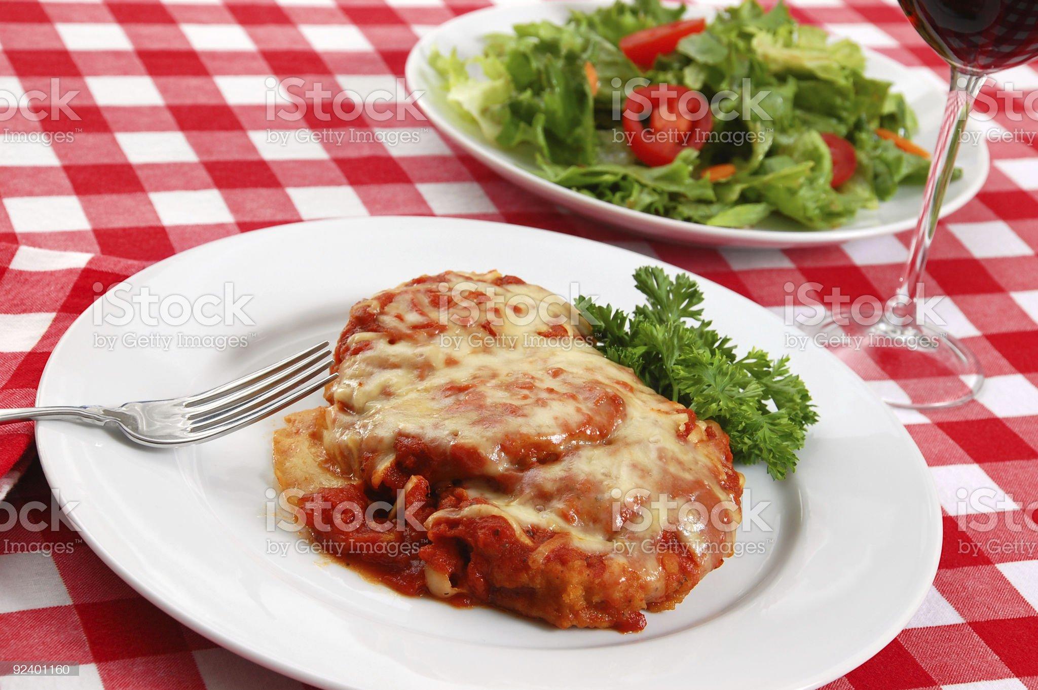 Eggplant Parmigiana and Side Salad royalty-free stock photo