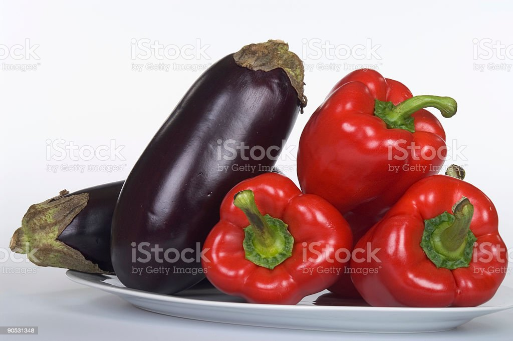 Eggplant Red Pepper on White stock photo