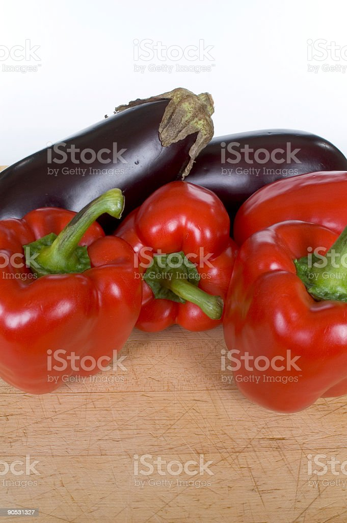 Eggplant Red Pepper Vertical stock photo