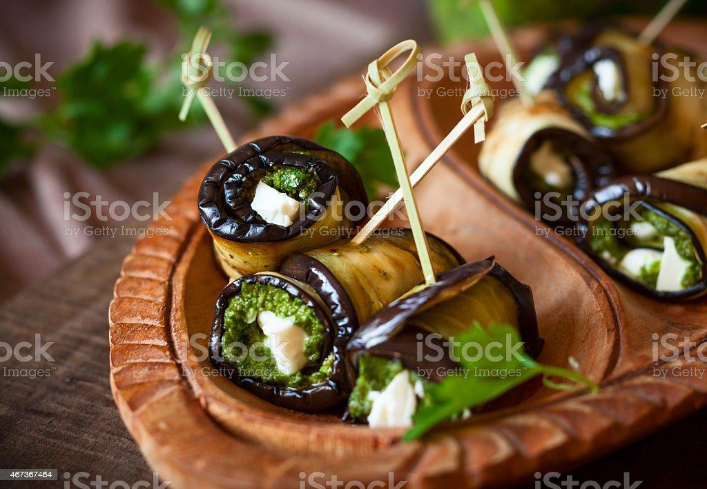 Eggplant rolls stock photo