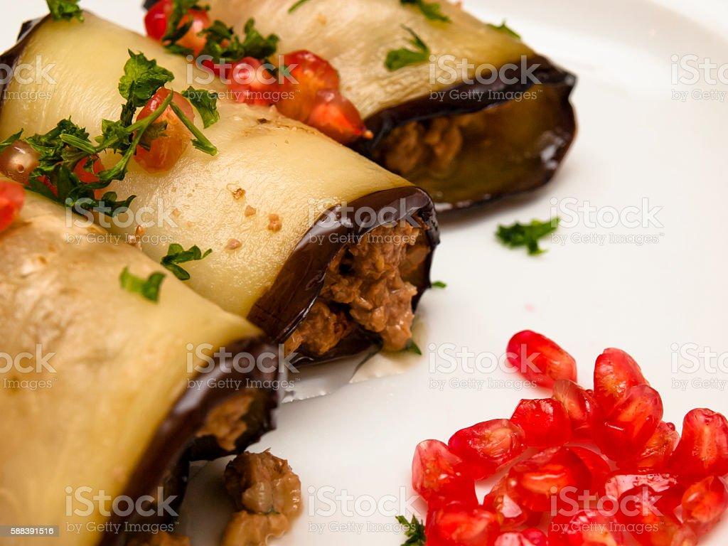 Eggplant roulades stock photo