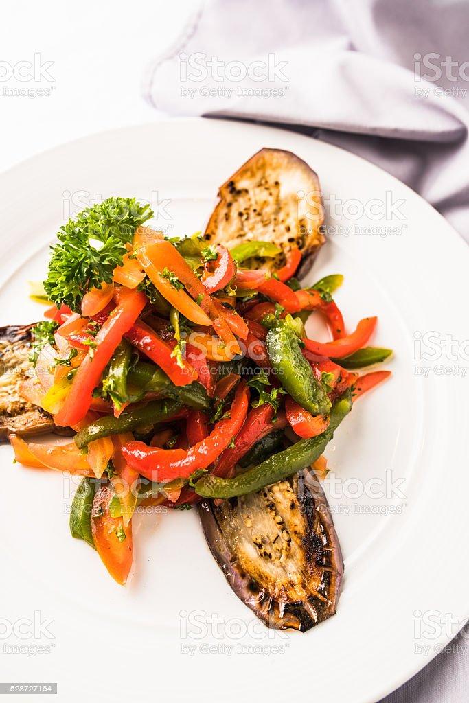 Eggplant salad stock photo
