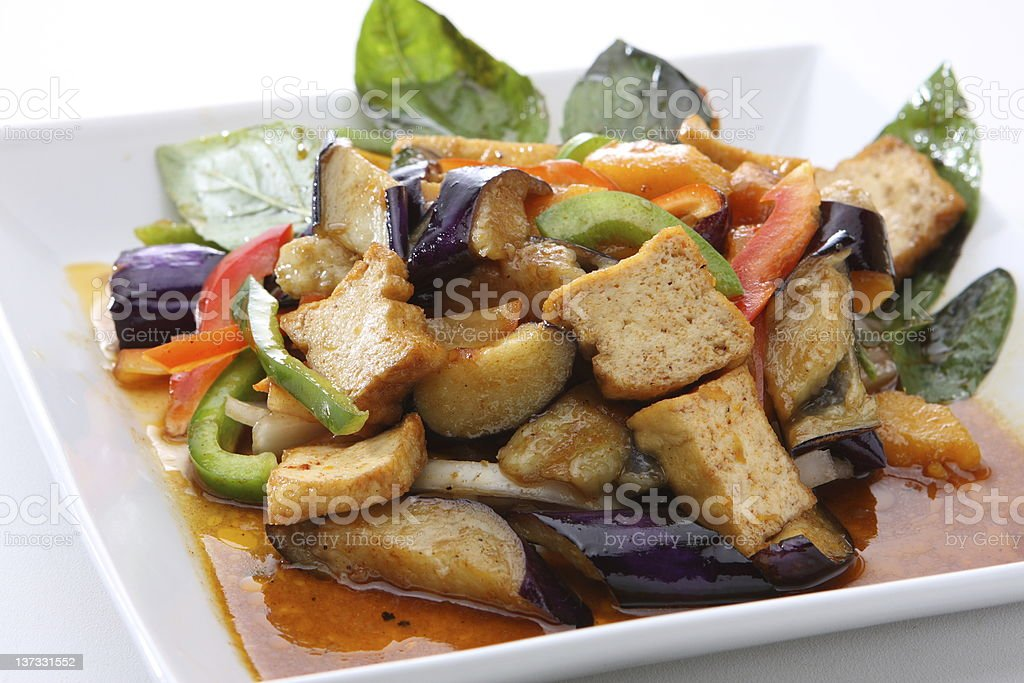 Eggplant Stir Fried with Tofu royalty-free stock photo