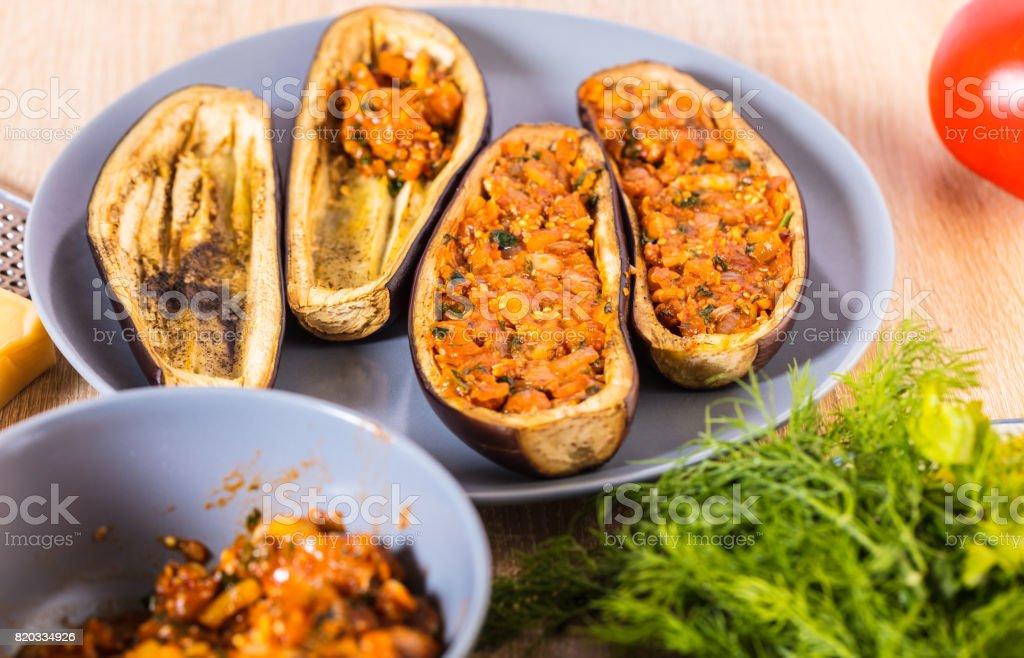 Eggplant stuffed with stuffing stock photo