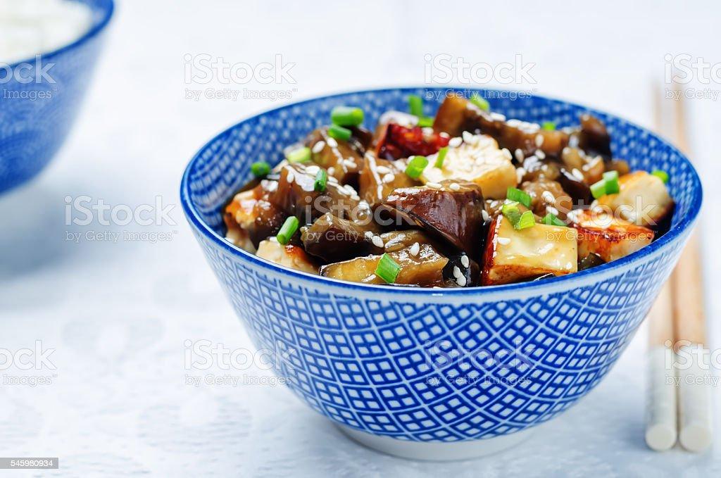 eggplant tofu teriyaki with rice stock photo