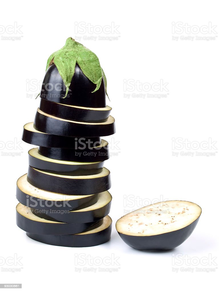 Eggplant tower w clipping path royalty-free stock photo