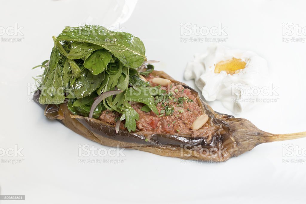 eggplant with minched meat stock photo