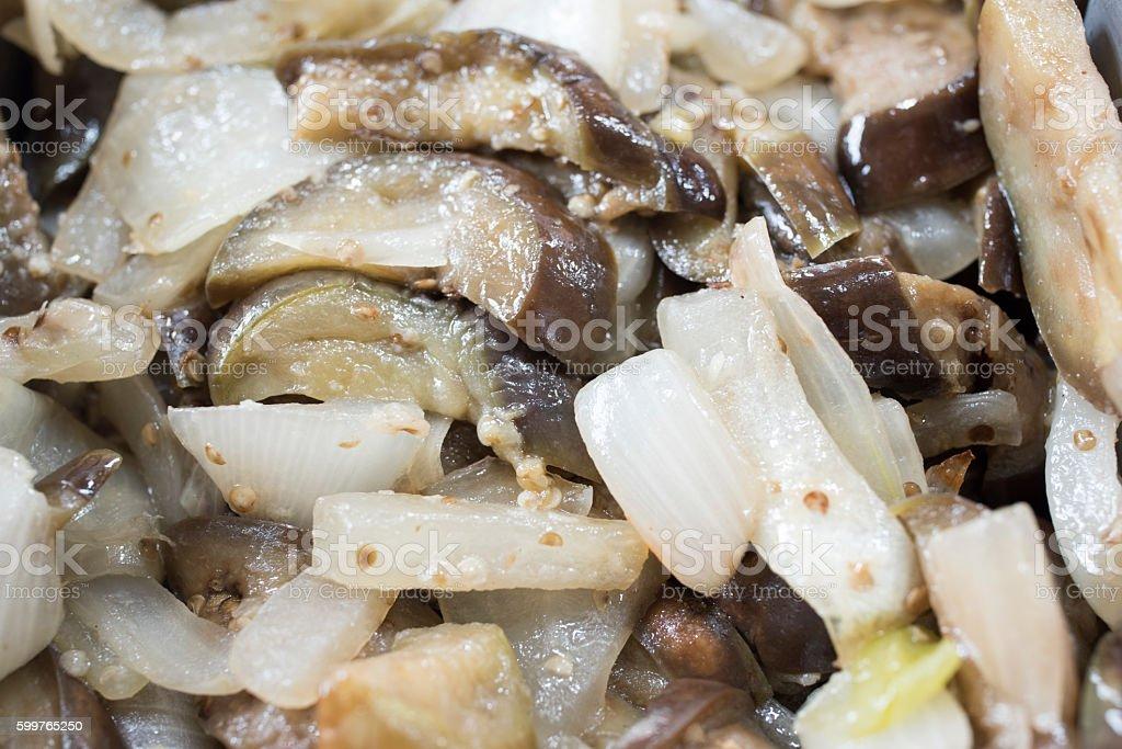 eggplant with onion stock photo