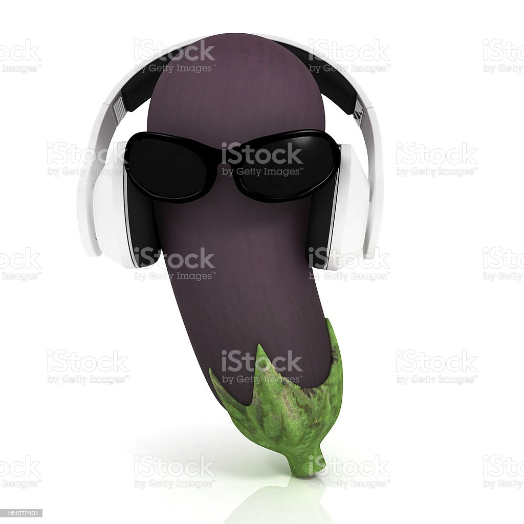 eggplant  with sun glass and headphones front 'face' stock photo