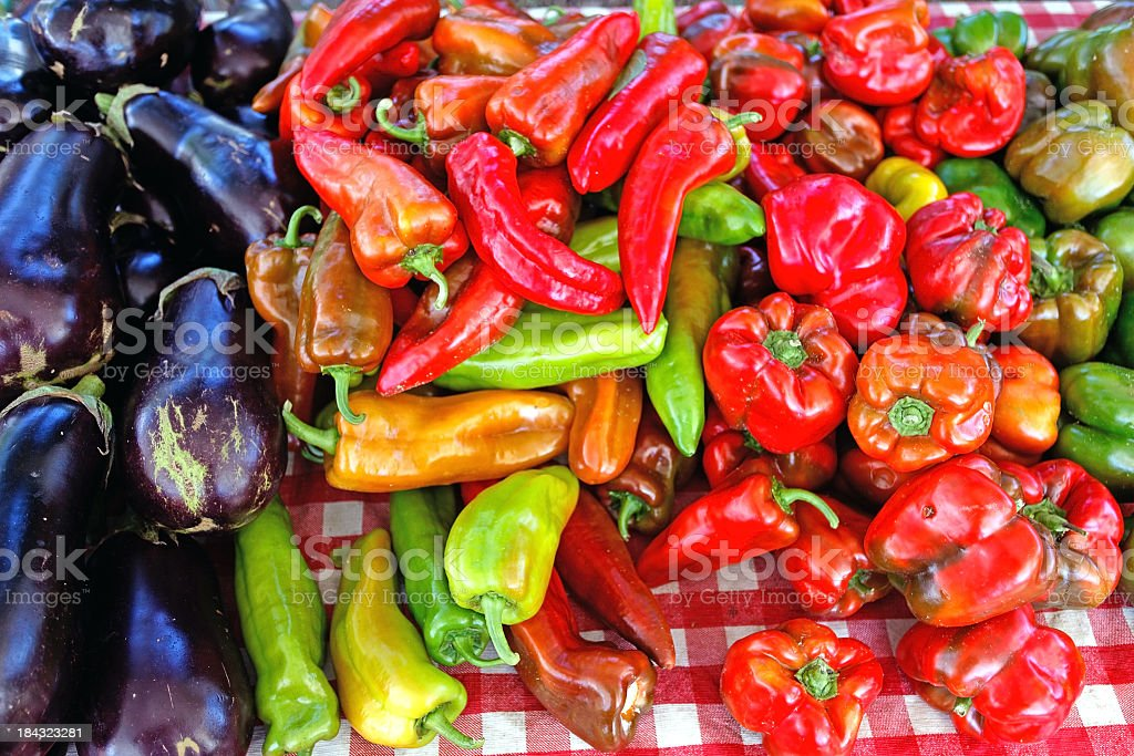 Eggplants and Peppers royalty-free stock photo