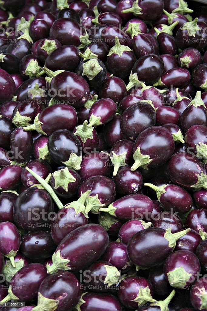 Eggplants at the market stock photo
