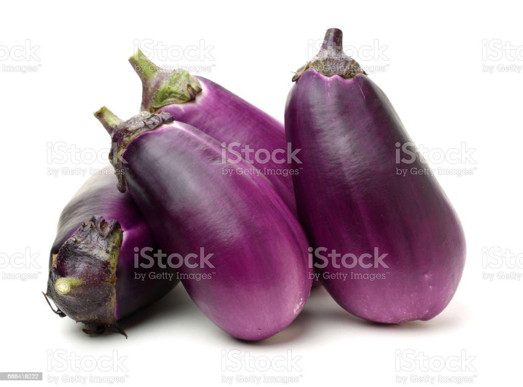 Eggplants  isolated on the white background stock photo