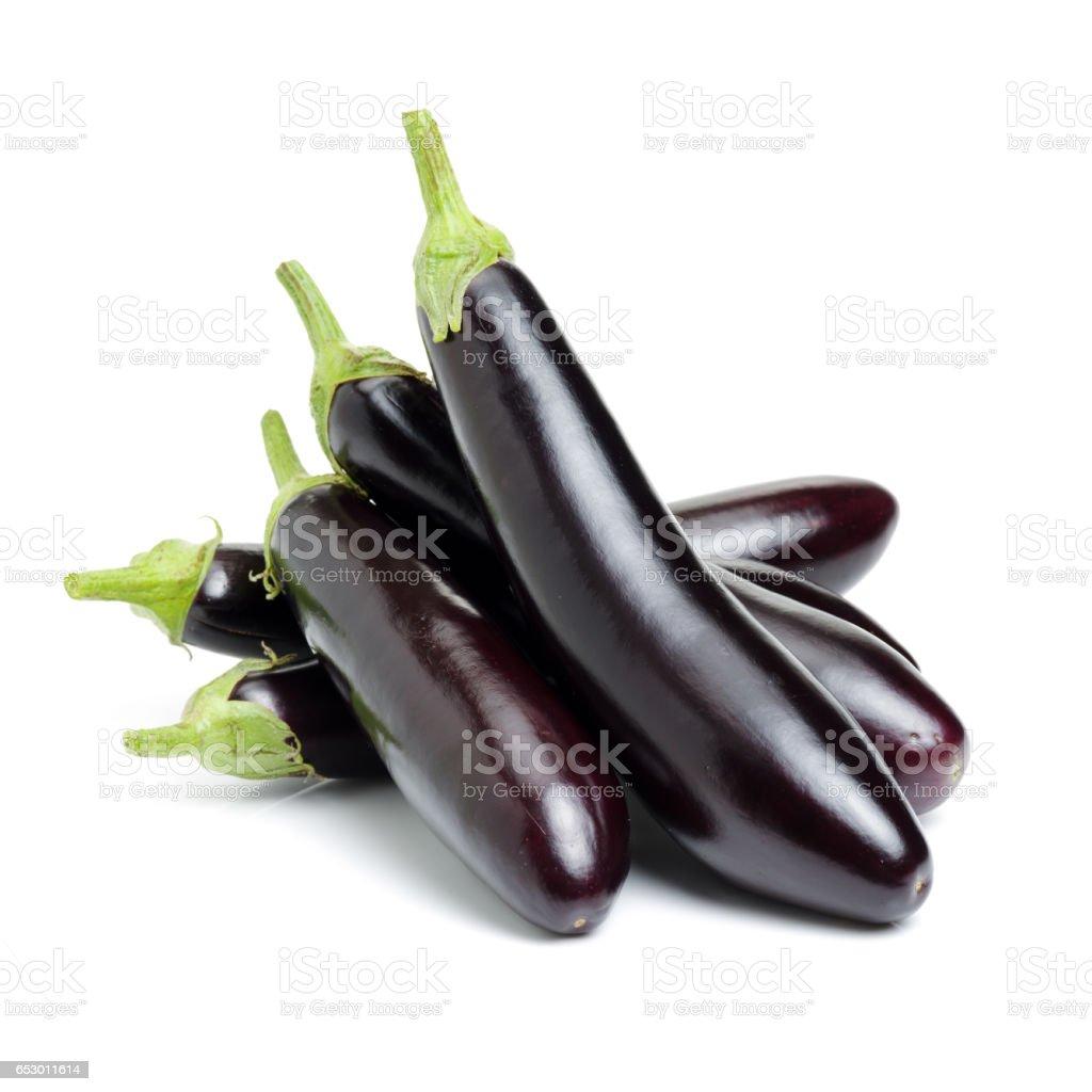 Eggplants   isolated on white background stock photo