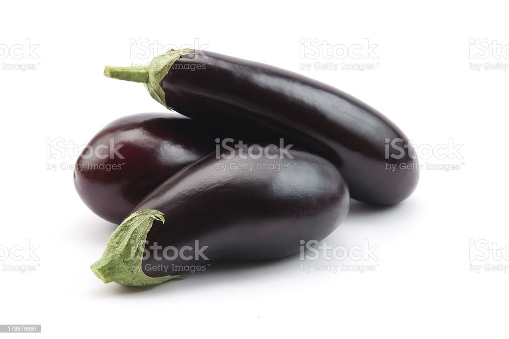 Eggplants isolated stock photo