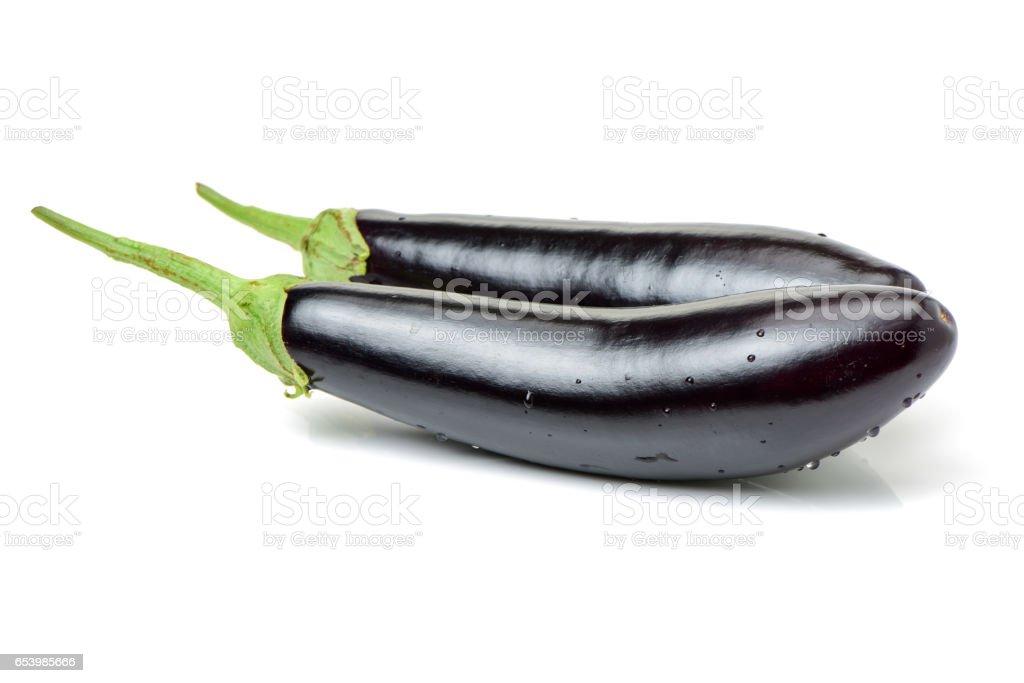 Eggplants isolated stock photo