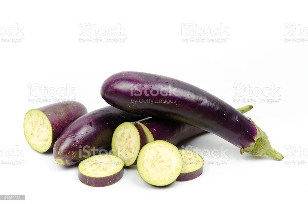eggplants on white background stock photo