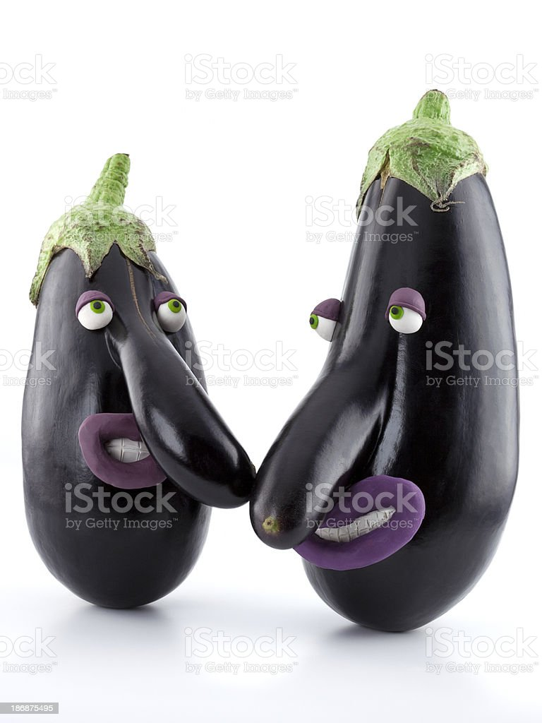 Eggplants with bigs noses royalty-free stock photo