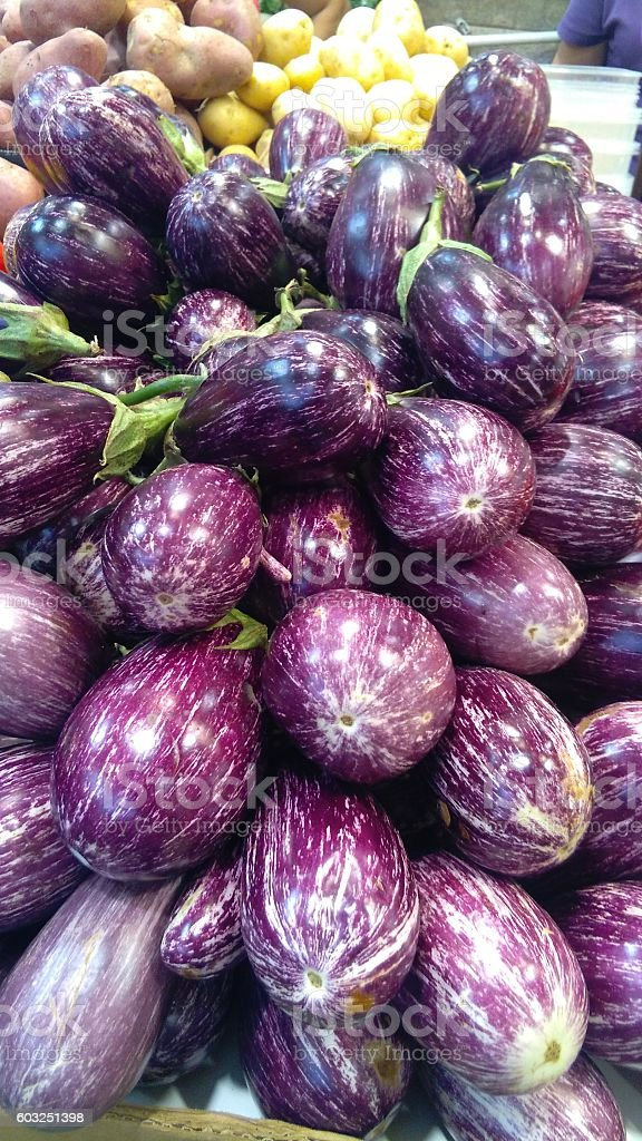 Eggplants with stripes purple stock photo
