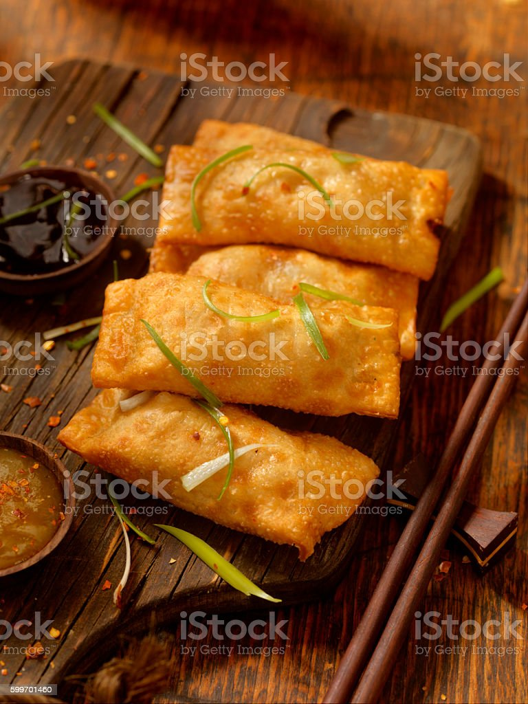 Eggrolls with Dipping Sauces stock photo