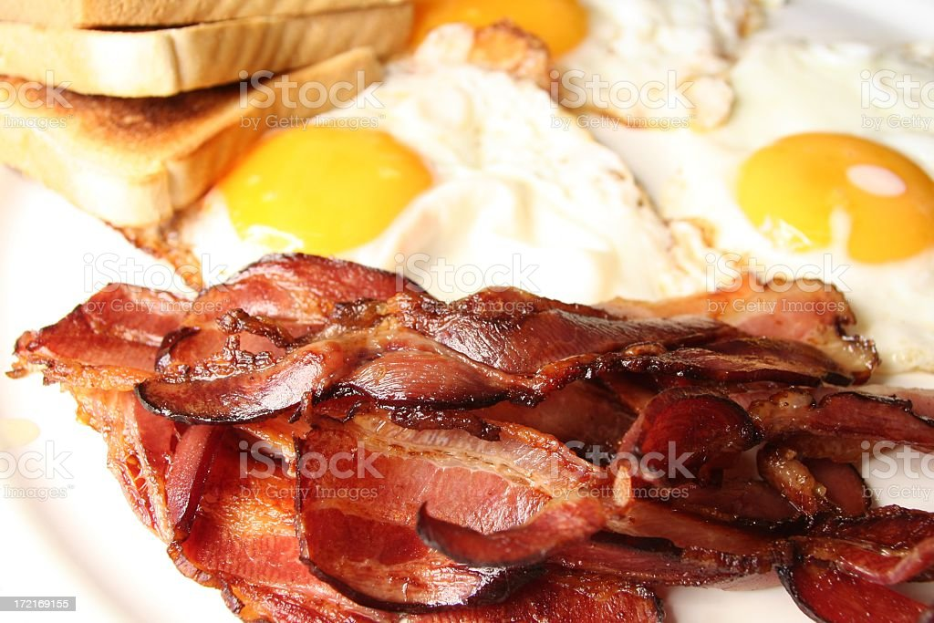 Eggs and bacon breakfast on a plate  royalty-free stock photo
