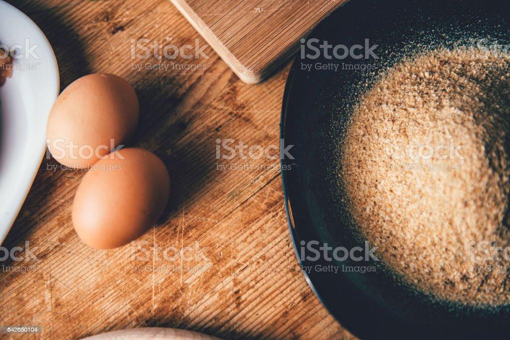 Eggs and breadcrumbs stock photo