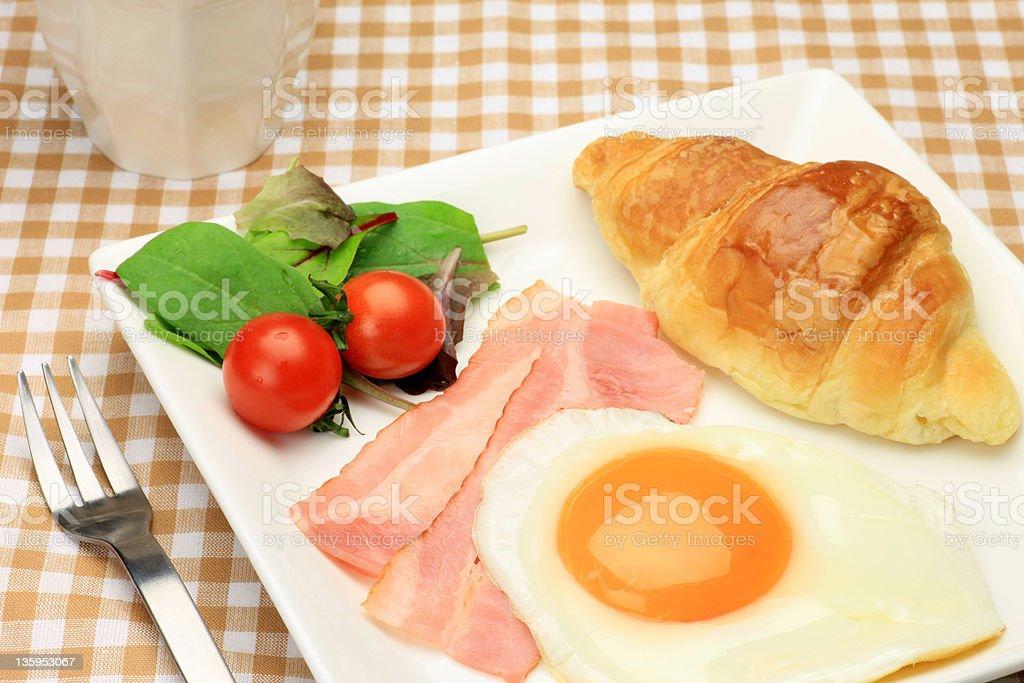 eggs and croissant royalty-free stock photo