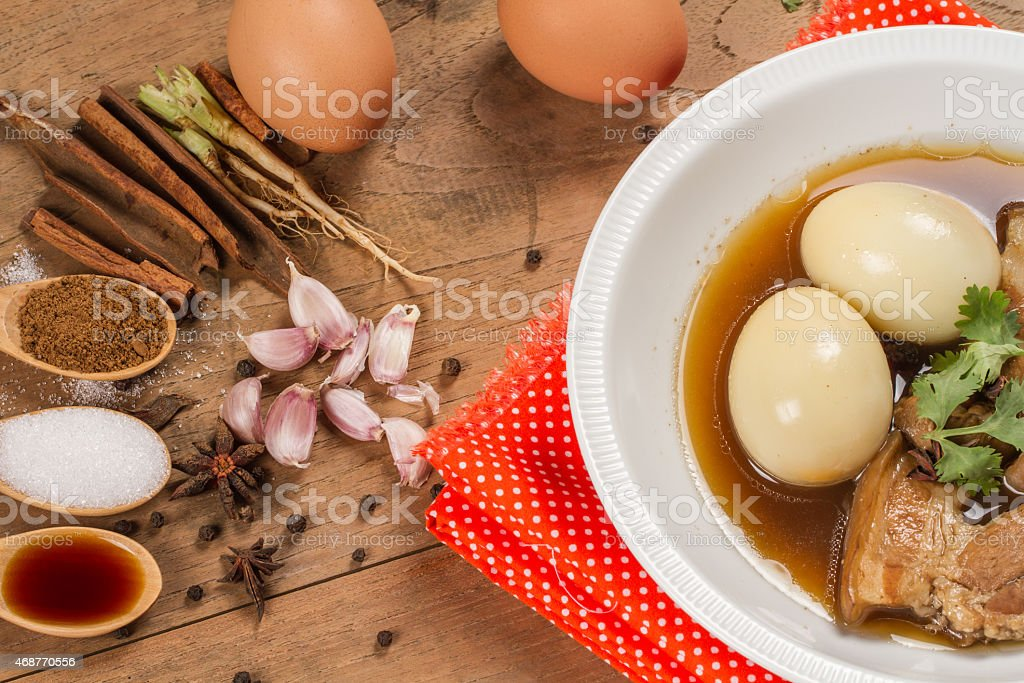 eggs and pork in brown sauce royalty-free stock photo