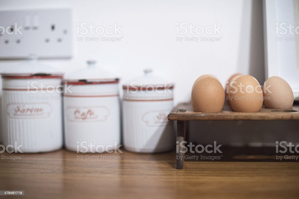 Eggs and tins stock photo