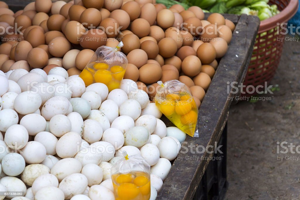 Eggs and yolks for Vietnam cuisine on My Tho market stock photo