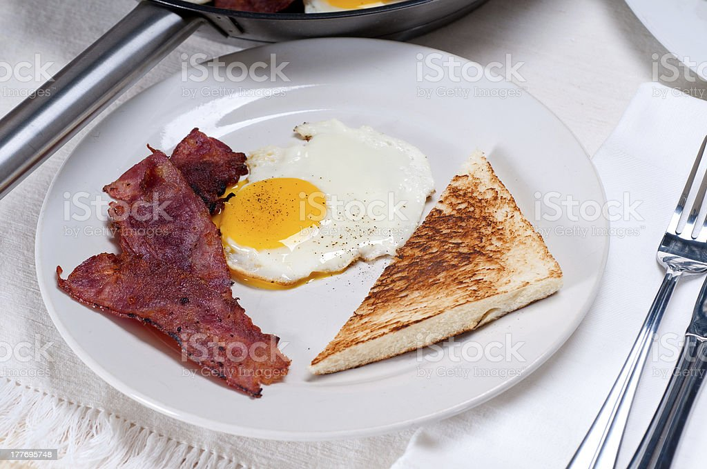 eggs bacon and toast bread royalty-free stock photo