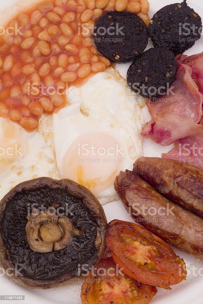 Eggs beans sausage and mushroom english breakfast royalty-free stock photo