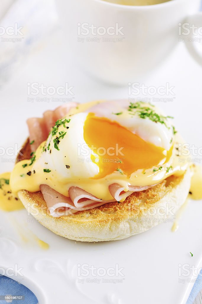 Eggs Benedict Sandwich for Breakfast stock photo
