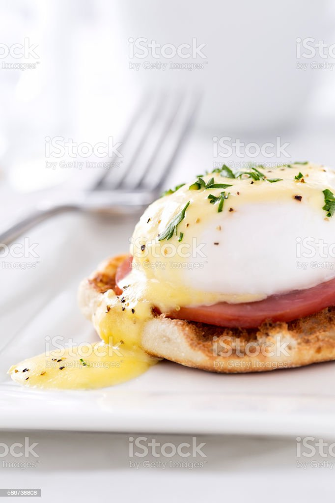 Eggs Benedict with Hollandaise Sauce stock photo