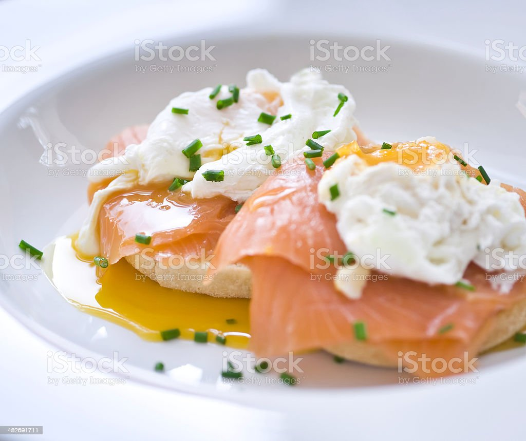 Eggs benedict with salmon and chives royalty-free stock photo