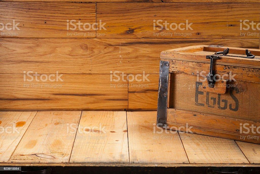 eggs box on wood background stock photo