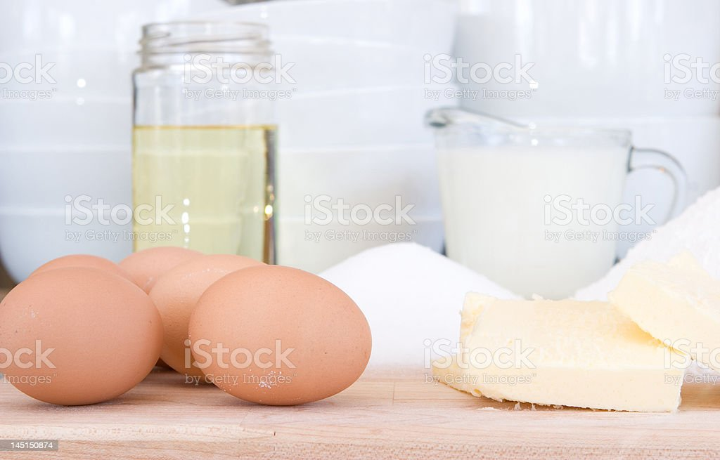 eggs, butter, sugar, oil royalty-free stock photo