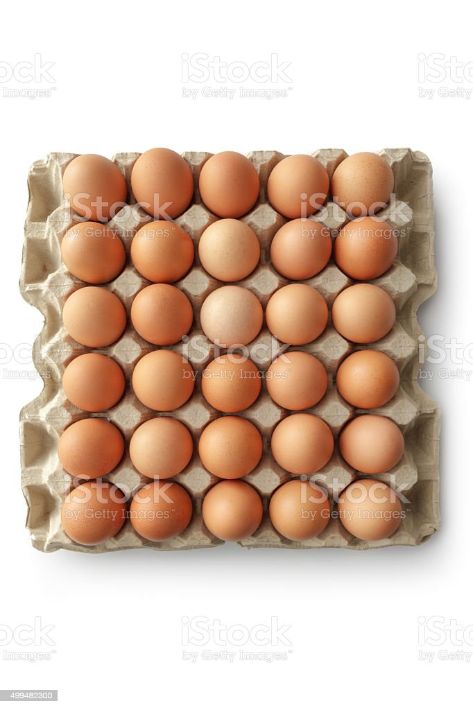 Eggs: Egg Carton Isolated on White Background stock photo