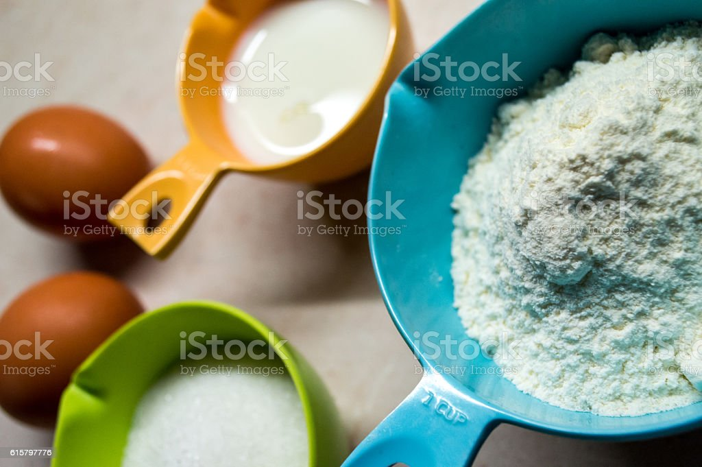 Eggs, Flour and Sugar/Pancake Ingredients Close Up royalty-free stock photo