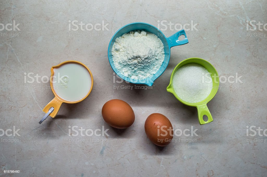 Eggs, Flour, Milk and Sugar/Pancake Ingredients royalty-free stock photo