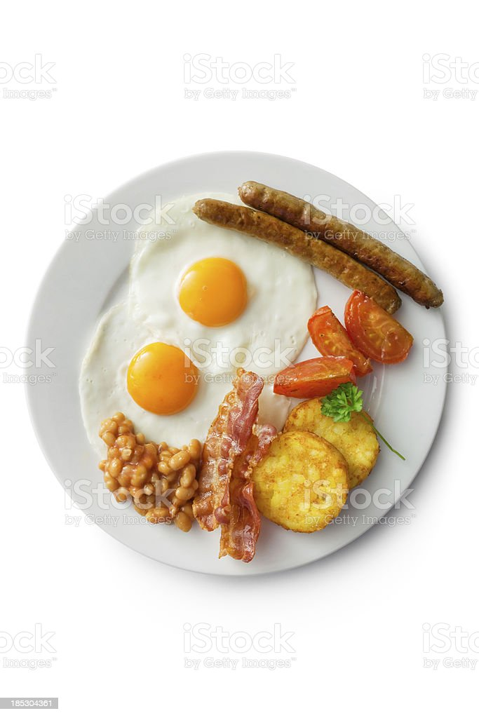 Eggs: Fried Egg, Bacon, Sausage, Hash Brown, Tomato and Beans stock photo