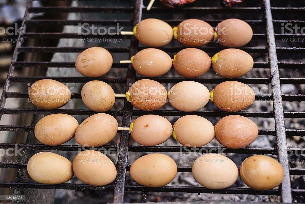 Eggs grill stock photo