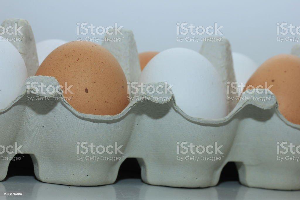 Eggs in a carton box stock photo