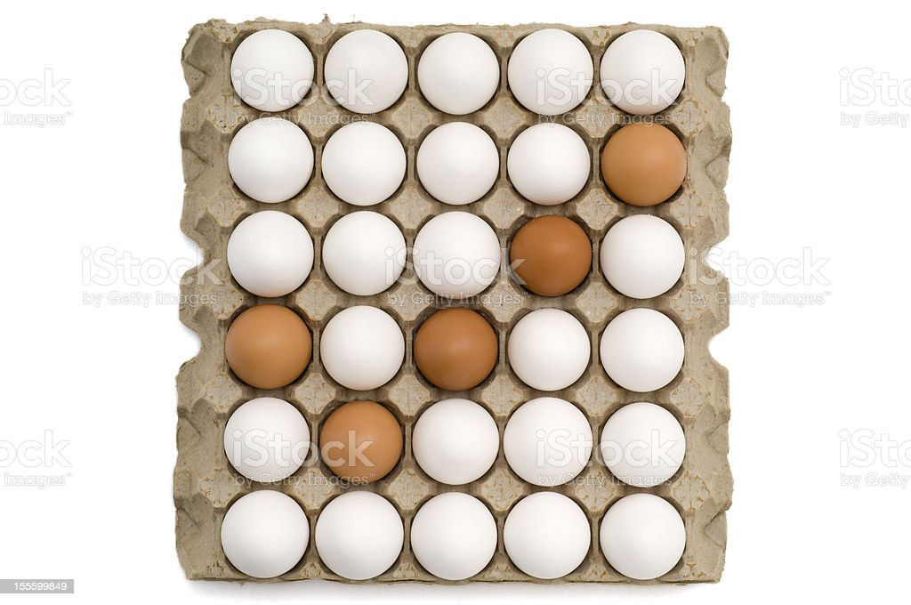 Eggs in a carton making the 'check' mark stock photo