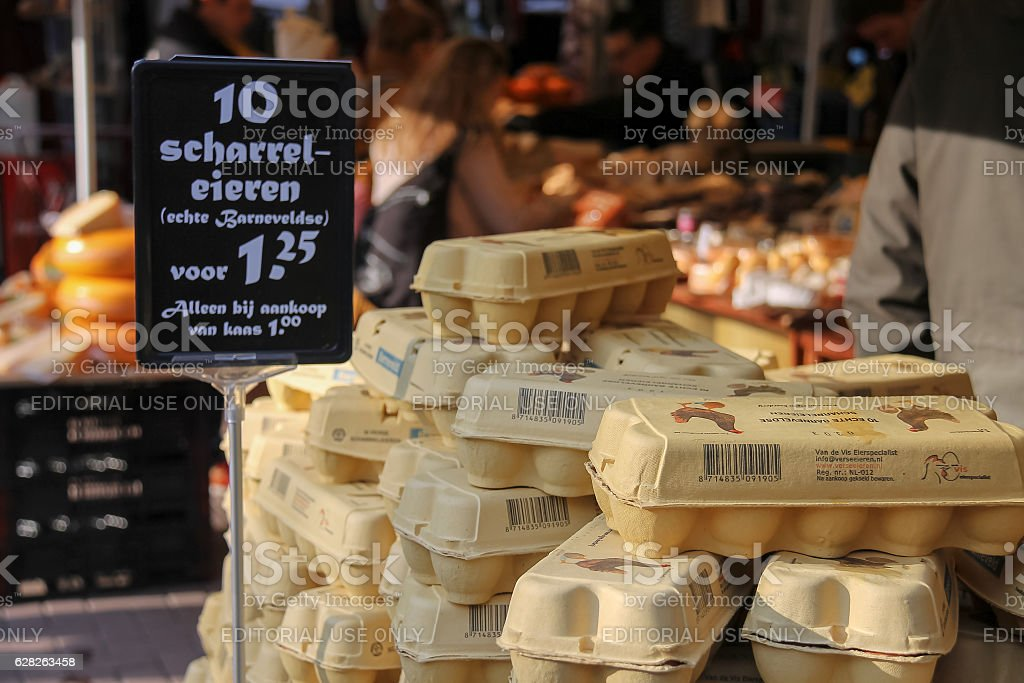 Eggs in a carton on the counter in Utrecht,  Netherlands stock photo
